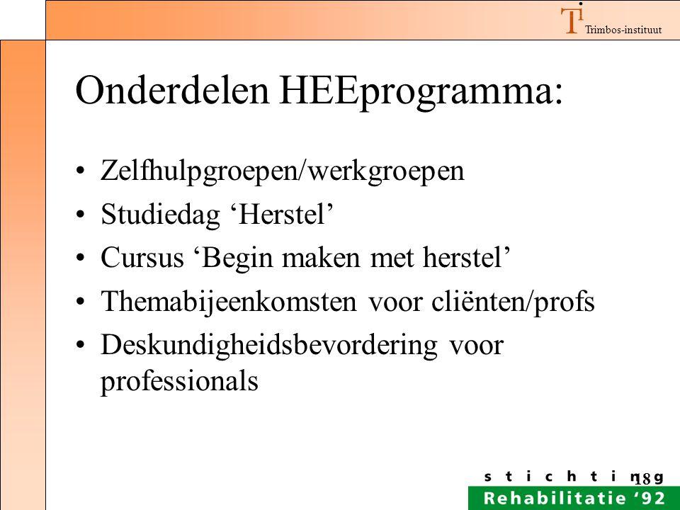 Trimbos-instituut 18 Onderdelen HEEprogramma: Zelfhulpgroepen/werkgroepen Studiedag 'Herstel' Cursus 'Begin maken met herstel' Themabijeenkomsten voor
