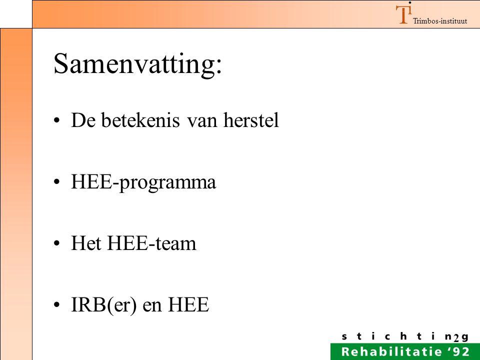 Trimbos-instituut 2 Samenvatting: De betekenis van herstel HEE-programma Het HEE-team IRB(er) en HEE