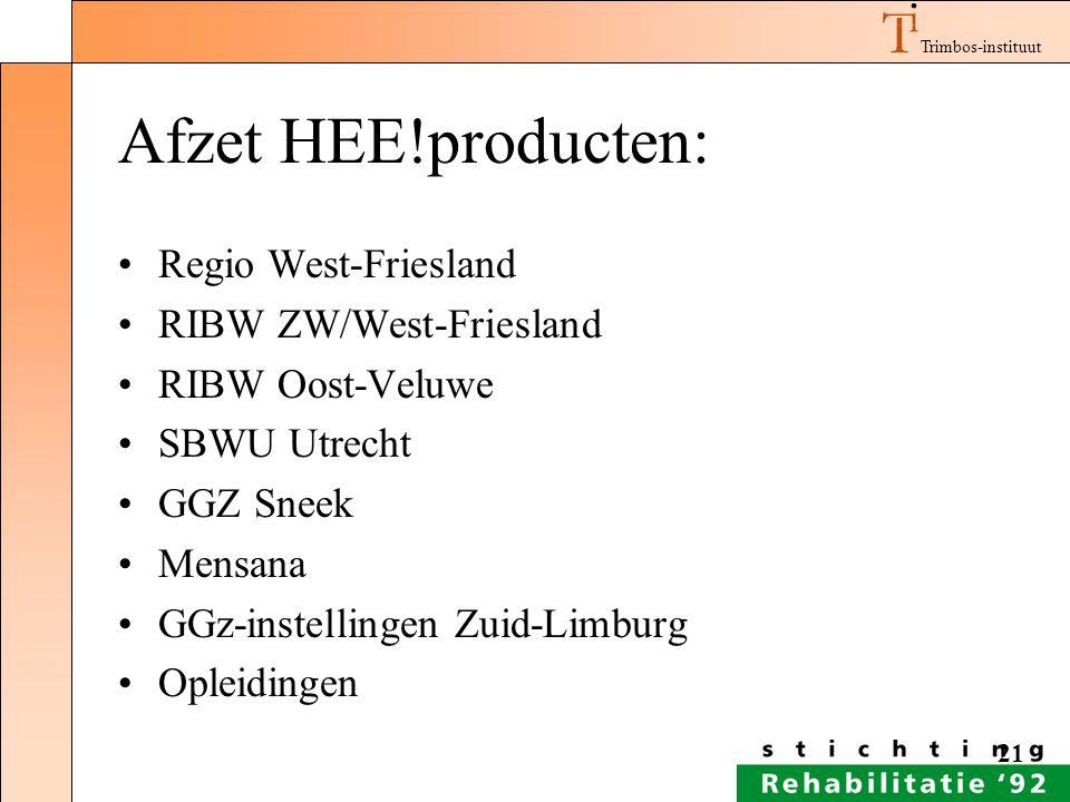 Trimbos-instituut 21 Afzet HEE!producten: Regio West-Friesland RIBW ZW/West-Friesland RIBW Oost-Veluwe SBWU Utrecht GGZ Sneek Mensana GGz-instellingen