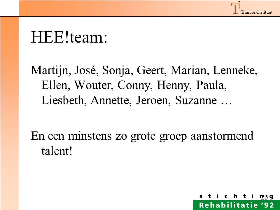 Trimbos-instituut 23 HEE!team: Martijn, José, Sonja, Geert, Marian, Lenneke, Ellen, Wouter, Conny, Henny, Paula, Liesbeth, Annette, Jeroen, Suzanne …