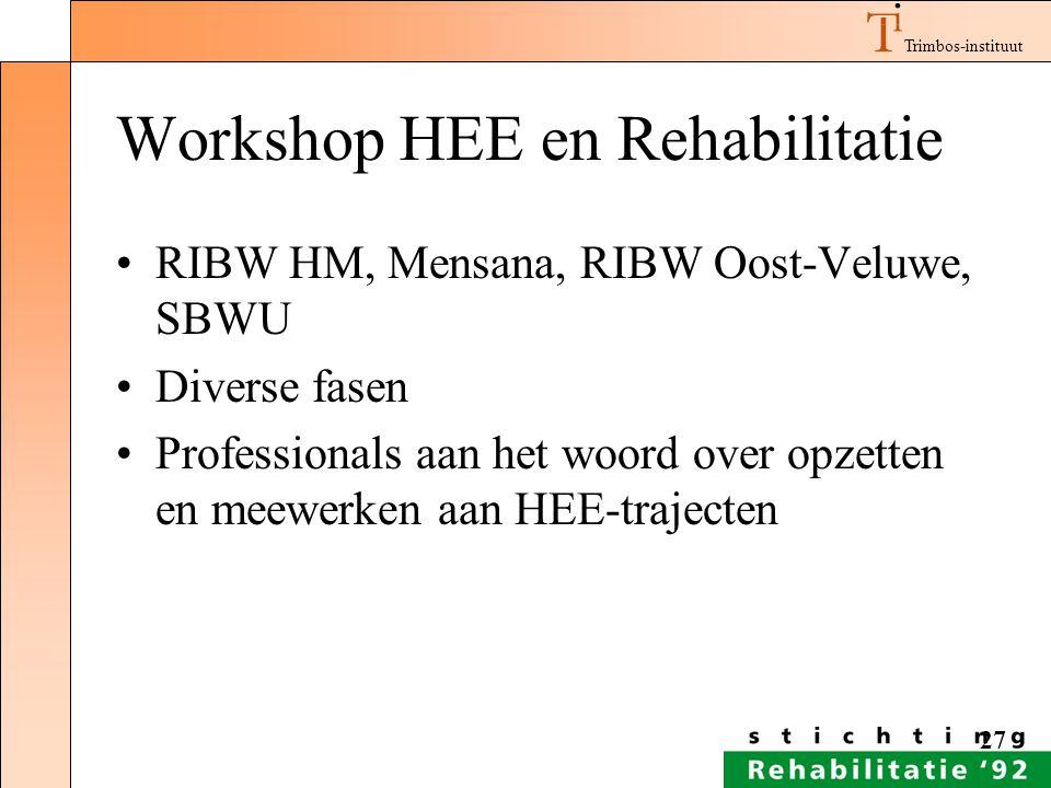 Trimbos-instituut 27 Workshop HEE en Rehabilitatie RIBW HM, Mensana, RIBW Oost-Veluwe, SBWU Diverse fasen Professionals aan het woord over opzetten en