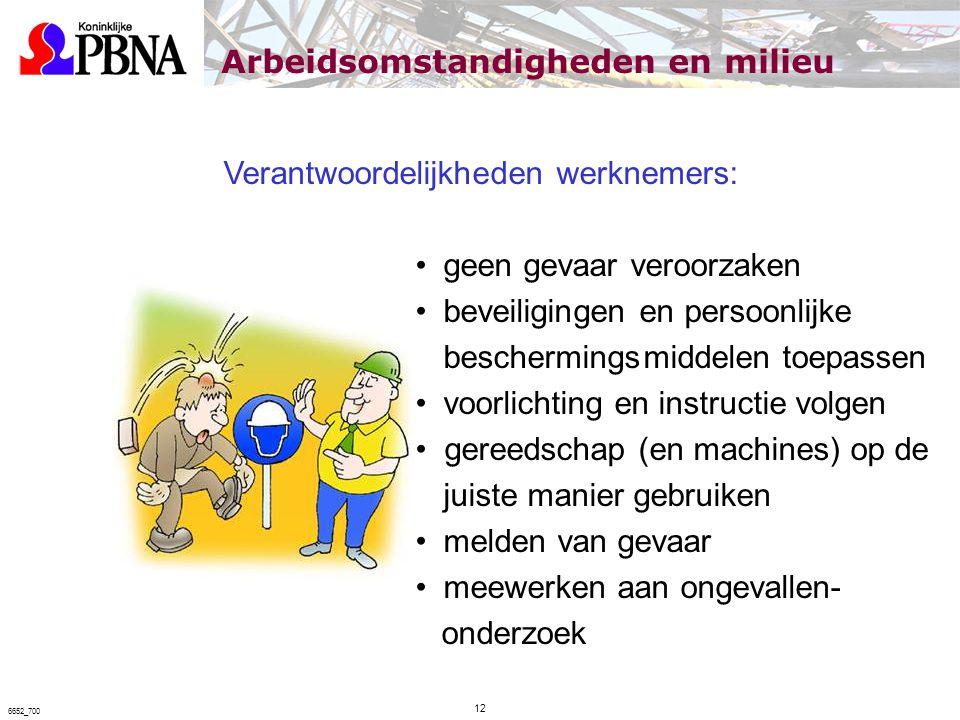 Verantwoordelijkheden werknemers: geen gevaar veroorzaken beveiligingen en persoonlijke beschermingsmiddelen toepassen voorlichting en instructie volg