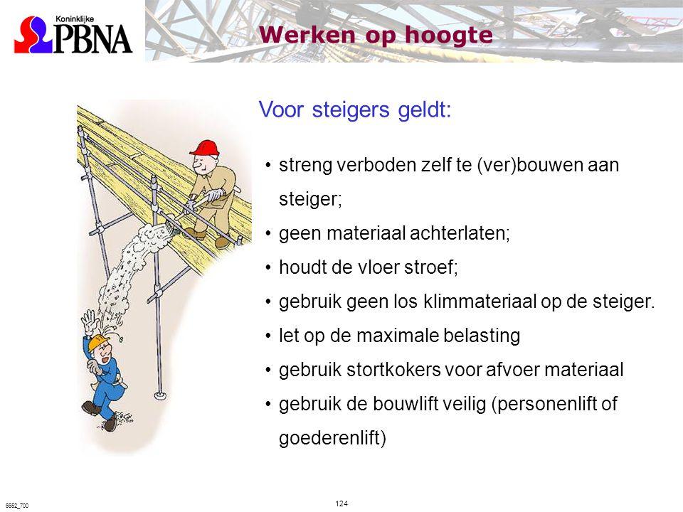 Voor steigers geldt: streng verboden zelf te (ver)bouwen aan steiger; geen materiaal achterlaten; houdt de vloer stroef; gebruik geen los klimmateriaa