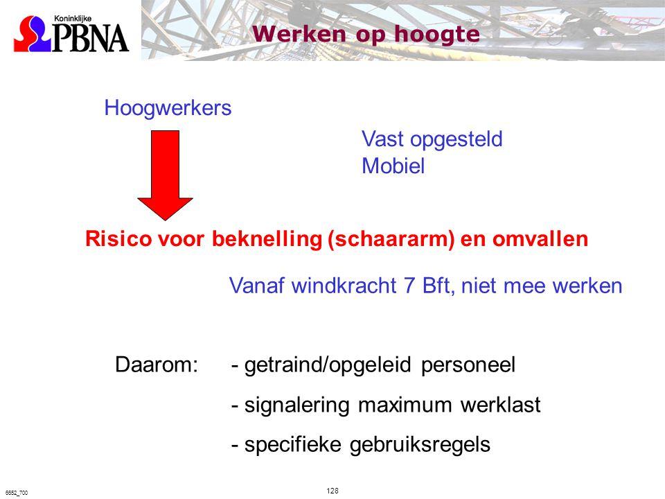 Hoogwerkers Vast opgesteld Mobiel Risico voor beknelling (schaararm) en omvallen Daarom:- getraind/opgeleid personeel - signalering maximum werklast -