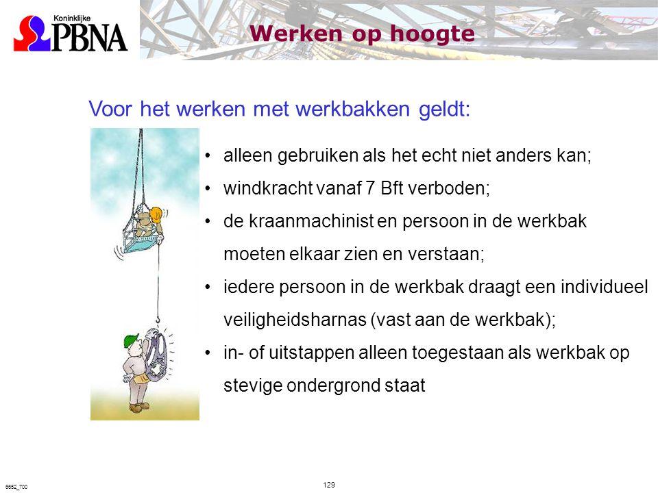 Voor het werken met werkbakken geldt: alleen gebruiken als het echt niet anders kan; windkracht vanaf 7 Bft verboden; de kraanmachinist en persoon in
