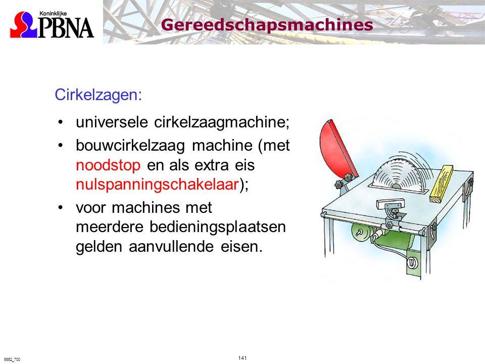 Cirkelzagen: universele cirkelzaagmachine; bouwcirkelzaag machine (met noodstop en als extra eis nulspanningschakelaar); voor machines met meerdere be