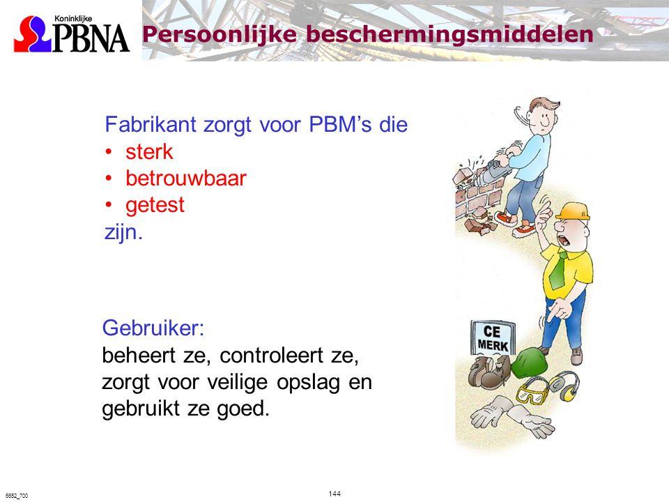 Fabrikant zorgt voor PBM's die sterk betrouwbaar getest zijn. Gebruiker: beheert ze, controleert ze, zorgt voor veilige opslag en gebruikt ze goed. Pe