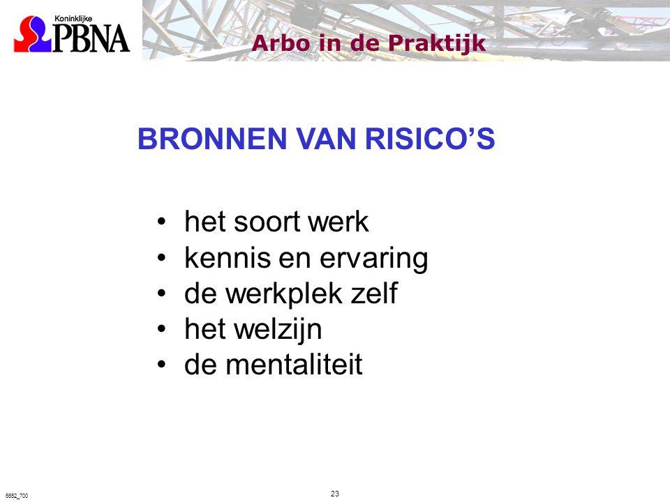 BRONNEN VAN RISICO'S het soort werk kennis en ervaring de werkplek zelf het welzijn de mentaliteit Arbo in de Praktijk 23 6652_700