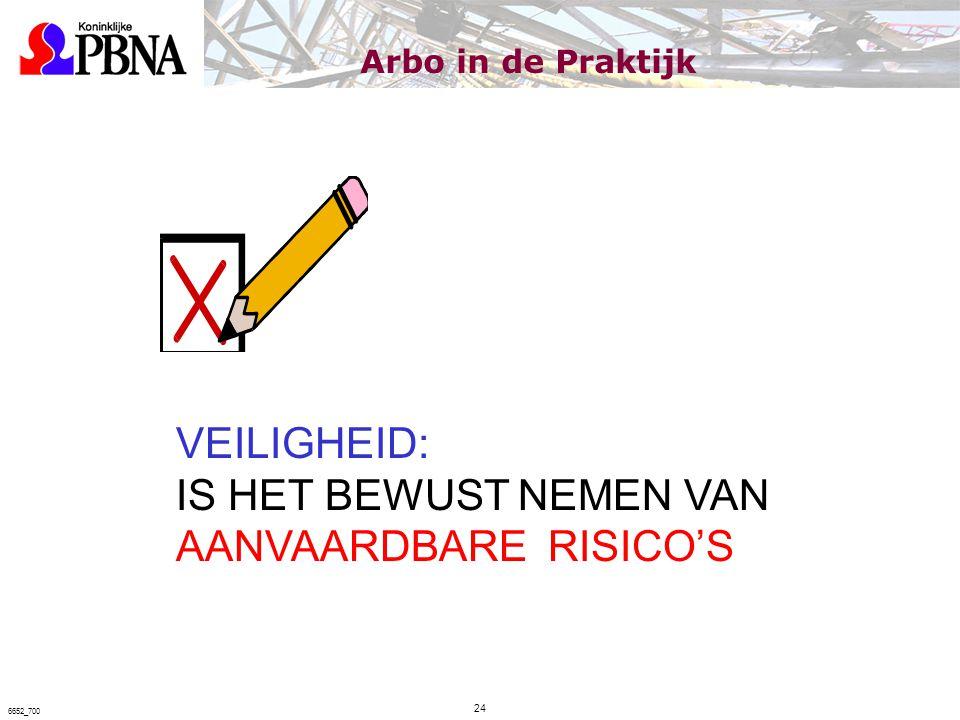 VEILIGHEID: IS HET BEWUST NEMEN VAN AANVAARDBARE RISICO'S Arbo in de Praktijk 24 6652_700