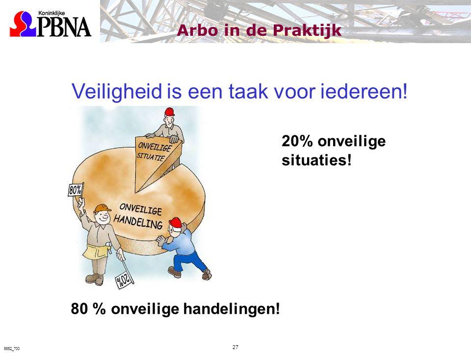 Veiligheid is een taak voor iedereen! 80 % onveilige handelingen! 20% onveilige situaties! Arbo in de Praktijk 27 6652_700