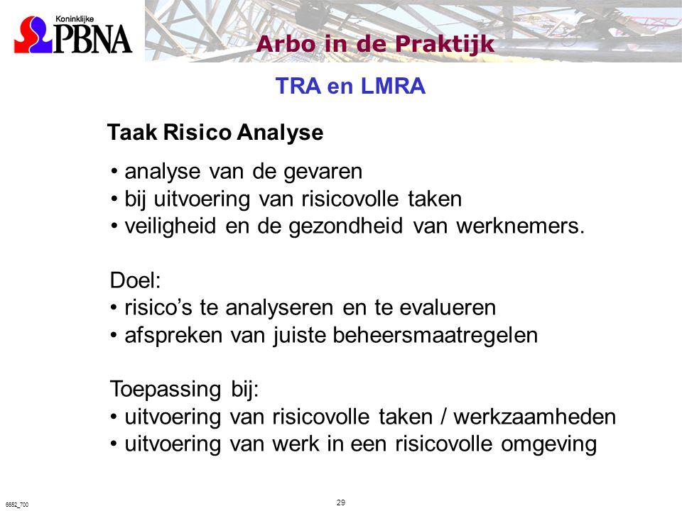 Taak Risico Analyse analyse van de gevaren bij uitvoering van risicovolle taken veiligheid en de gezondheid van werknemers. Doel: risico's te analyser