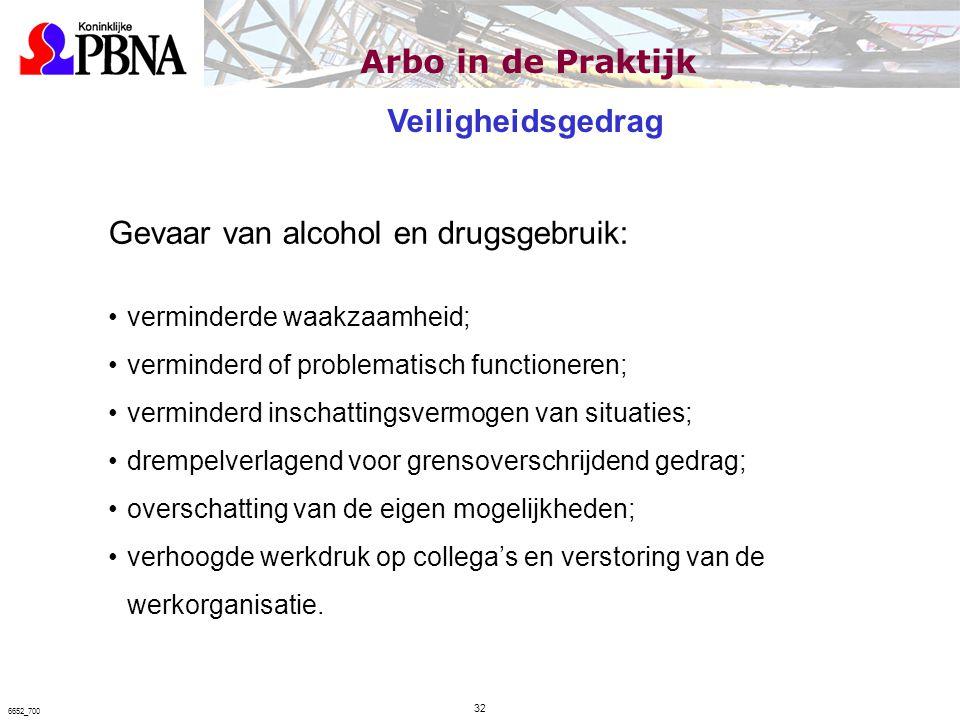 Gevaar van alcohol en drugsgebruik: verminderde waakzaamheid; verminderd of problematisch functioneren; verminderd inschattingsvermogen van situaties;