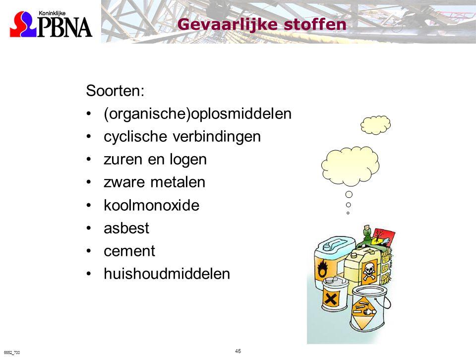 Soorten: (organische)oplosmiddelen cyclische verbindingen zuren en logen zware metalen koolmonoxide asbest cement huishoudmiddelen 45 6652_700 Gevaarl