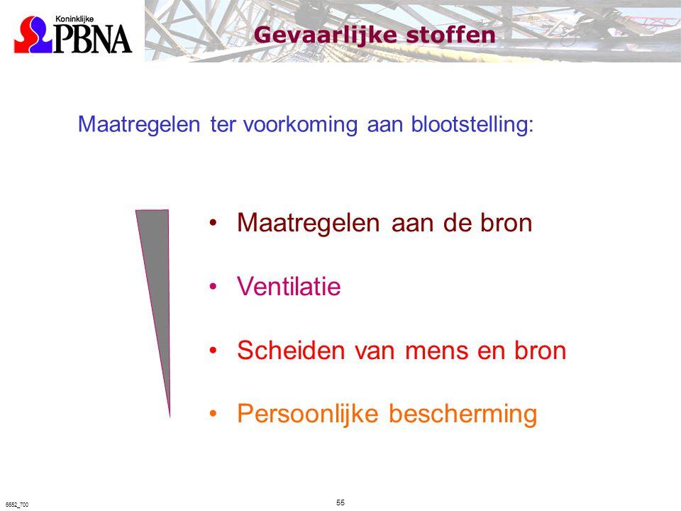 Maatregelen ter voorkoming aan blootstelling: Maatregelen aan de bron Ventilatie Scheiden van mens en bron Persoonlijke bescherming Gevaarlijke stoffe
