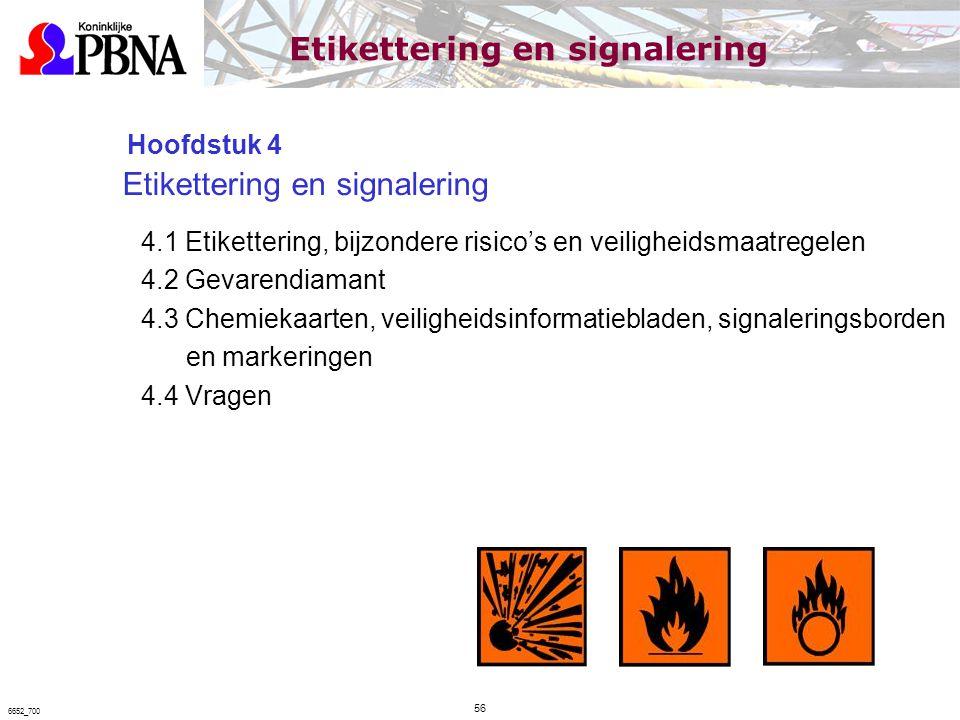 Hoofdstuk 4 Etikettering en signalering 4.1 Etikettering, bijzondere risico's en veiligheidsmaatregelen 4.2 Gevarendiamant 4.3 Chemiekaarten, veilighe