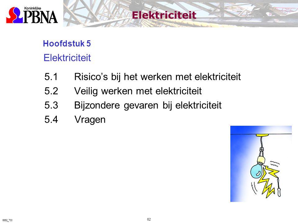 Hoofdstuk 5 Elektriciteit 5.1Risico's bij het werken met elektriciteit 5.2Veilig werken met elektriciteit 5.3Bijzondere gevaren bij elektriciteit 5.4