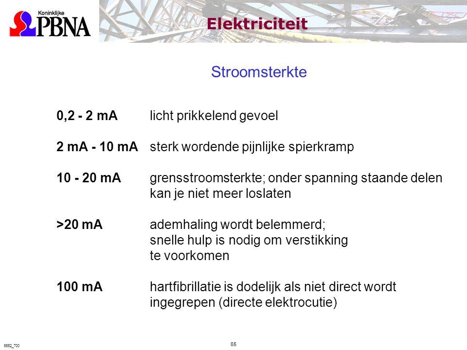 Stroomsterkte 0,2 - 2 mA licht prikkelend gevoel 2 mA - 10 mA sterk wordende pijnlijke spierkramp 10 - 20 mA grensstroomsterkte; onder spanning staand
