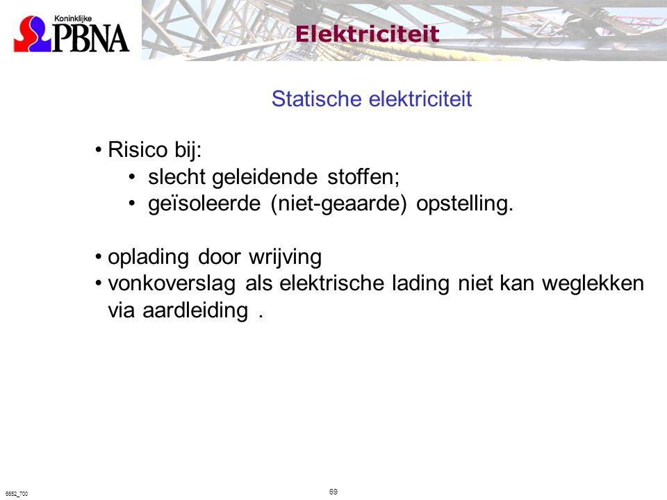 Statische elektriciteit Risico bij: slecht geleidende stoffen; geïsoleerde (niet-geaarde) opstelling. oplading door wrijving vonkoverslag als elektris