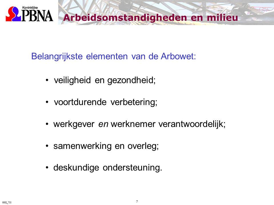 Belangrijkste elementen van de Arbowet: veiligheid en gezondheid; voortdurende verbetering; werkgever en werknemer verantwoordelijk; samenwerking en o