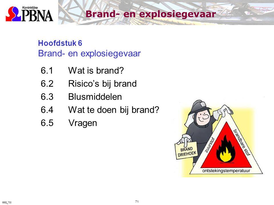 Hoofdstuk 6 Brand- en explosiegevaar 6.1Wat is brand? 6.2Risico's bij brand 6.3Blusmiddelen 6.4Wat te doen bij brand? 6.5 Vragen 71 6652_700 Brand- en