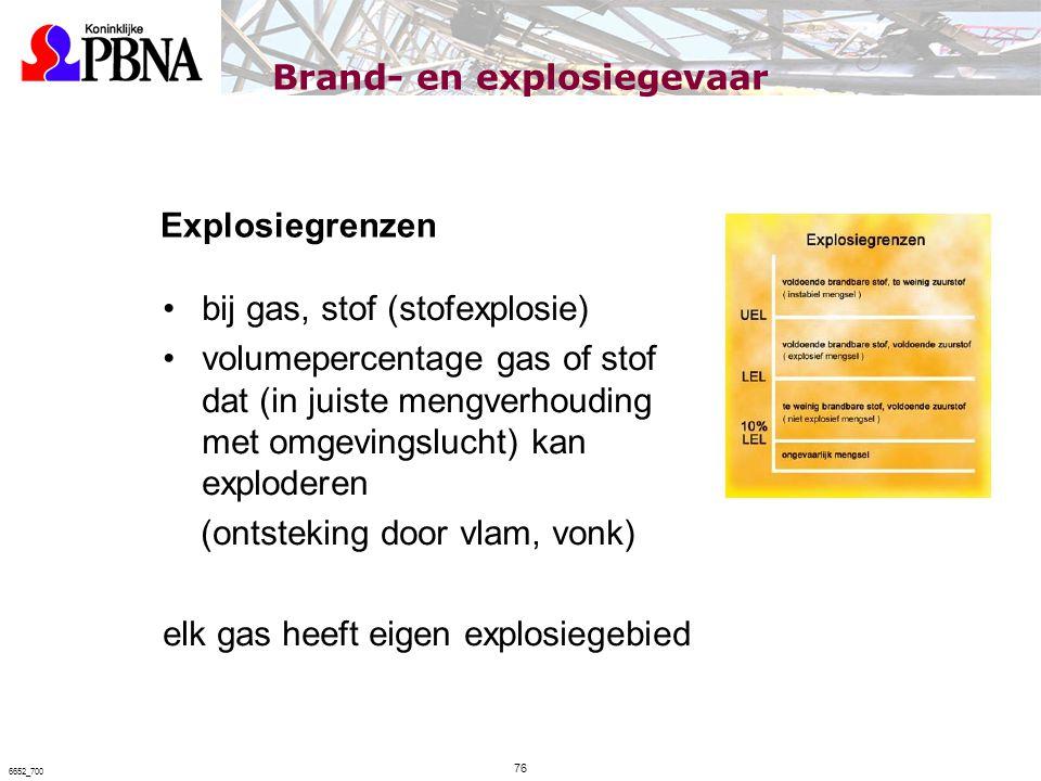 Brand- en explosiegevaar Explosiegrenzen bij gas, stof (stofexplosie) volumepercentage gas of stof dat (in juiste mengverhouding met omgevingslucht) k