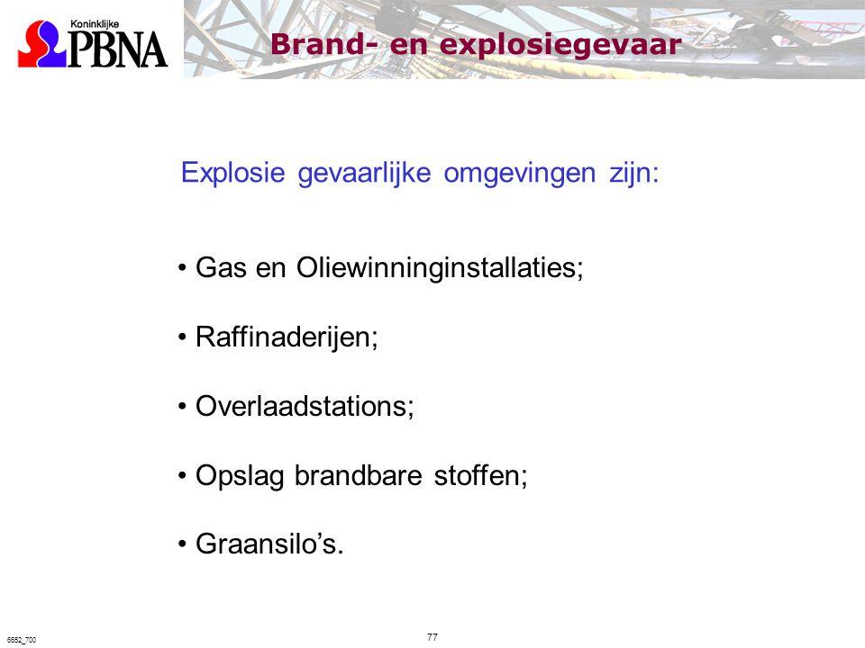Explosie gevaarlijke omgevingen zijn: Gas en Oliewinninginstallaties; Raffinaderijen; Overlaadstations; Opslag brandbare stoffen; Graansilo's. Brand-