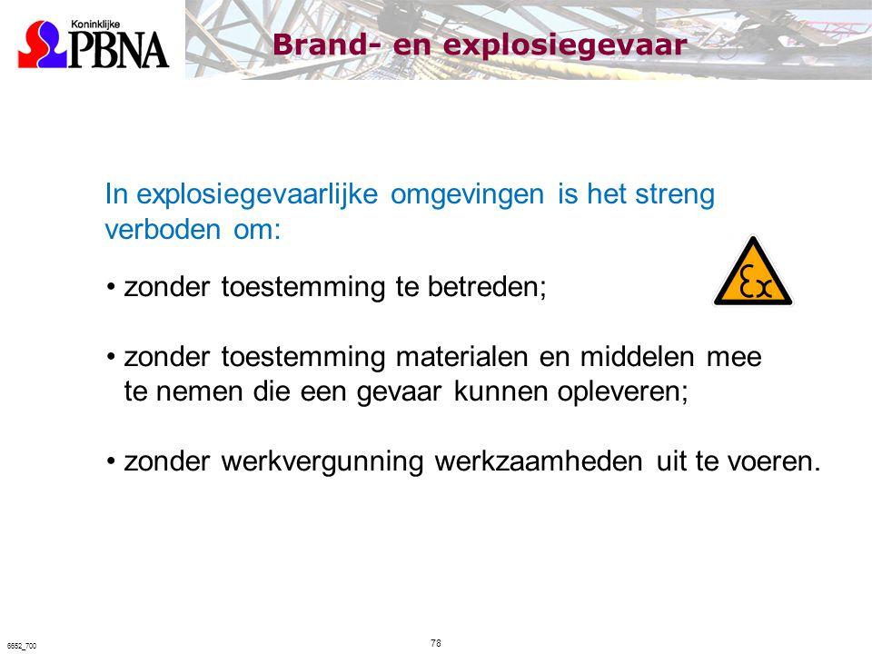 In explosiegevaarlijke omgevingen is het streng verboden om: zonder toestemming te betreden; zonder toestemming materialen en middelen mee te nemen di