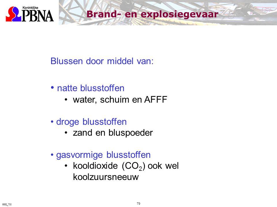 Blussen door middel van: natte blusstoffen water, schuim en AFFF droge blusstoffen zand en bluspoeder gasvormige blusstoffen kooldioxide (CO 2 ) ook w