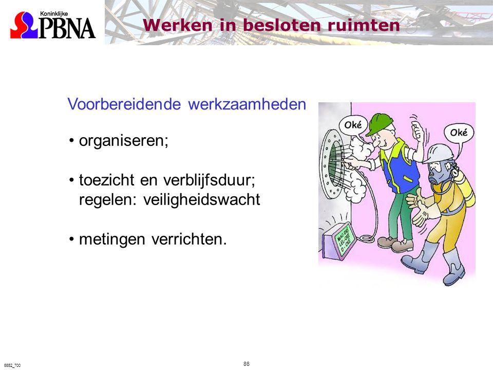 Voorbereidende werkzaamheden organiseren; toezicht en verblijfsduur; regelen: veiligheidswacht metingen verrichten. Werken in besloten ruimten 86 6652