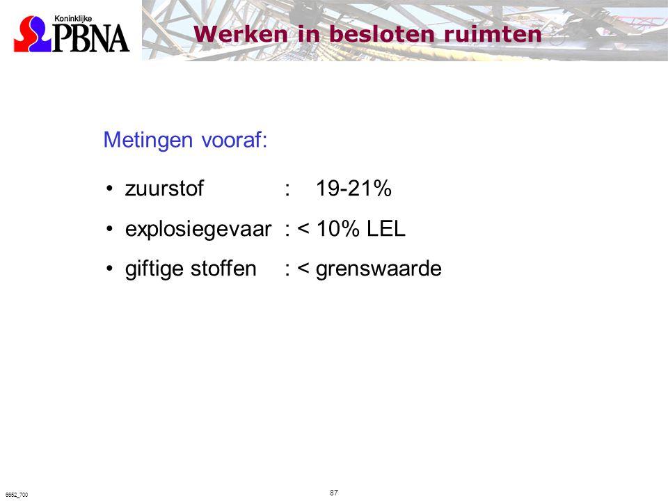Metingen vooraf: zuurstof: 19-21% explosiegevaar: < 10% LEL giftige stoffen: < grenswaarde Werken in besloten ruimten 87 6652_700