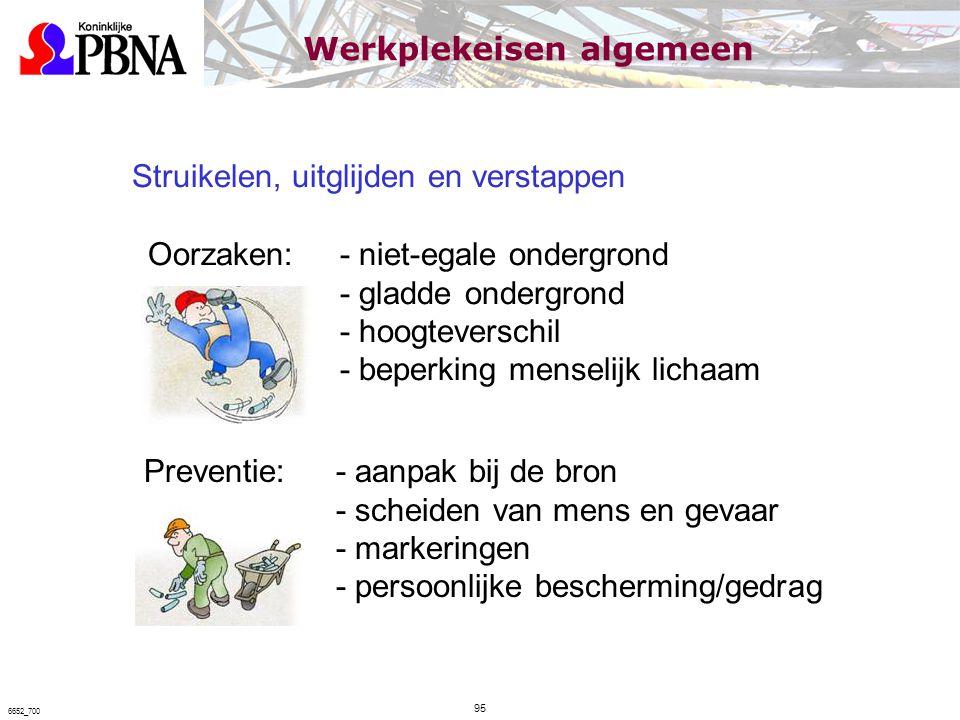 Struikelen, uitglijden en verstappen Oorzaken: - niet-egale ondergrond - gladde ondergrond - hoogteverschil - beperking menselijk lichaam Preventie:-