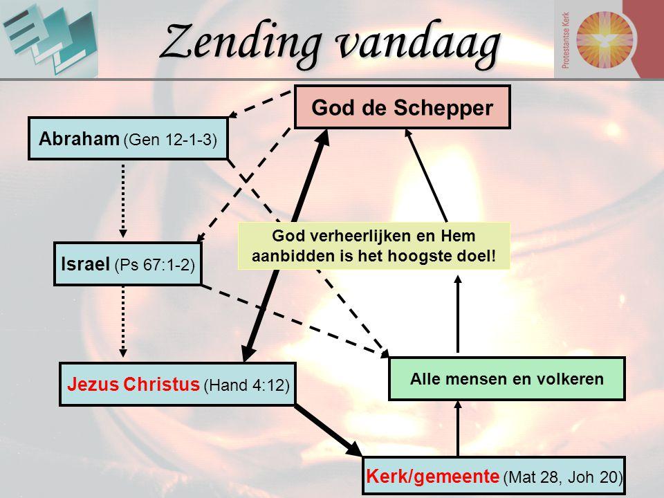 Zending vandaag God de Schepper Alle mensen en volkeren Abraham (Gen 12-1-3) Israel (Ps 67:1-2) Jezus Christus (Hand 4:12) Kerk/gemeente (Mat 28, Joh
