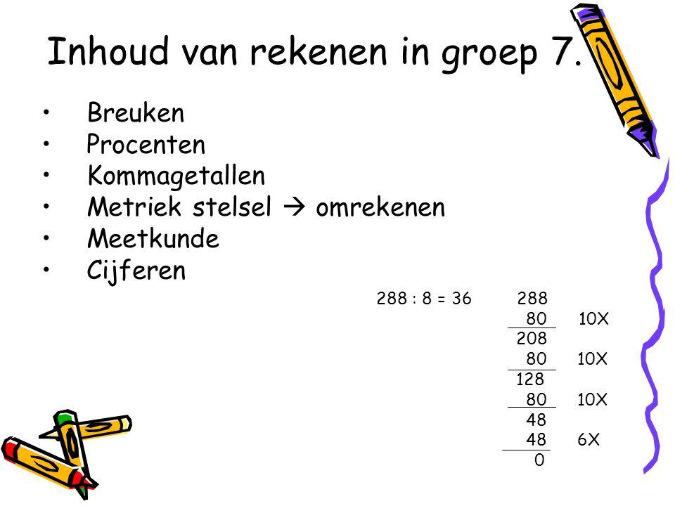 Inhoud van rekenen in groep 7.