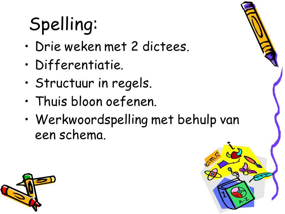 Spelling: Drie weken met 2 dictees.Differentiatie.