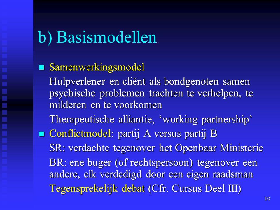 10 b) Basismodellen Samenwerkingsmodel Samenwerkingsmodel Hulpverlener en cliënt als bondgenoten samen psychische problemen trachten te verhelpen, te