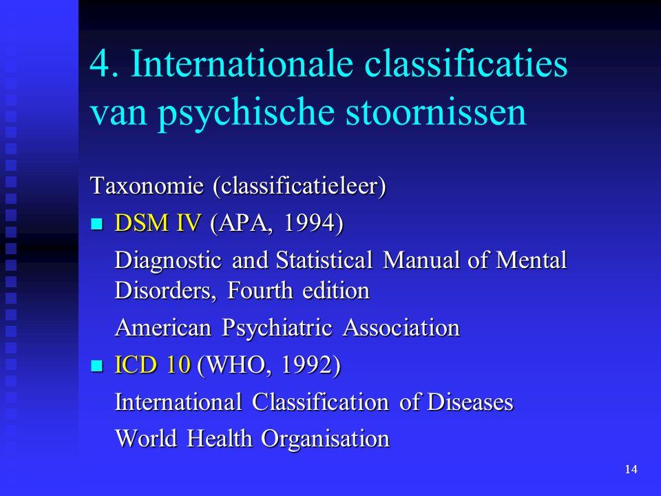 14 4. Internationale classificaties van psychische stoornissen Taxonomie (classificatieleer) DSM IV (APA, 1994) DSM IV (APA, 1994) Diagnostic and Stat