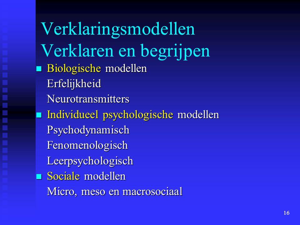 16 Verklaringsmodellen Verklaren en begrijpen Biologische modellen Biologische modellenErfelijkheidNeurotransmitters Individueel psychologische modell