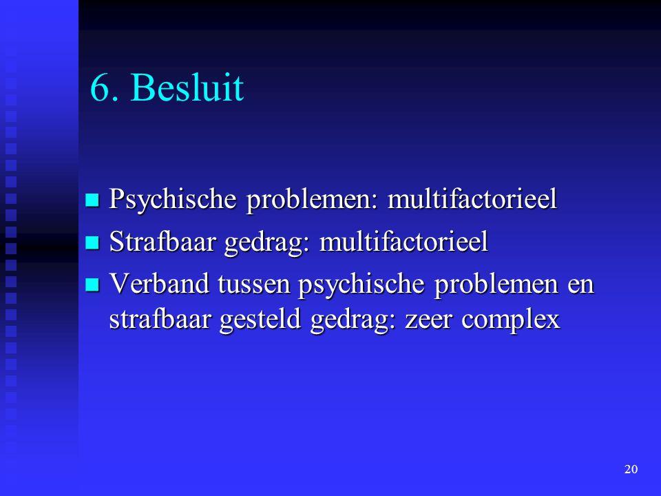 20 6. Besluit Psychische problemen: multifactorieel Psychische problemen: multifactorieel Strafbaar gedrag: multifactorieel Strafbaar gedrag: multifac