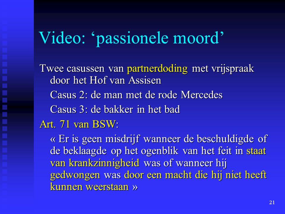 21 Video: 'passionele moord' Twee casussen van partnerdoding met vrijspraak door het Hof van Assisen Casus 2: de man met de rode Mercedes Casus 3: de