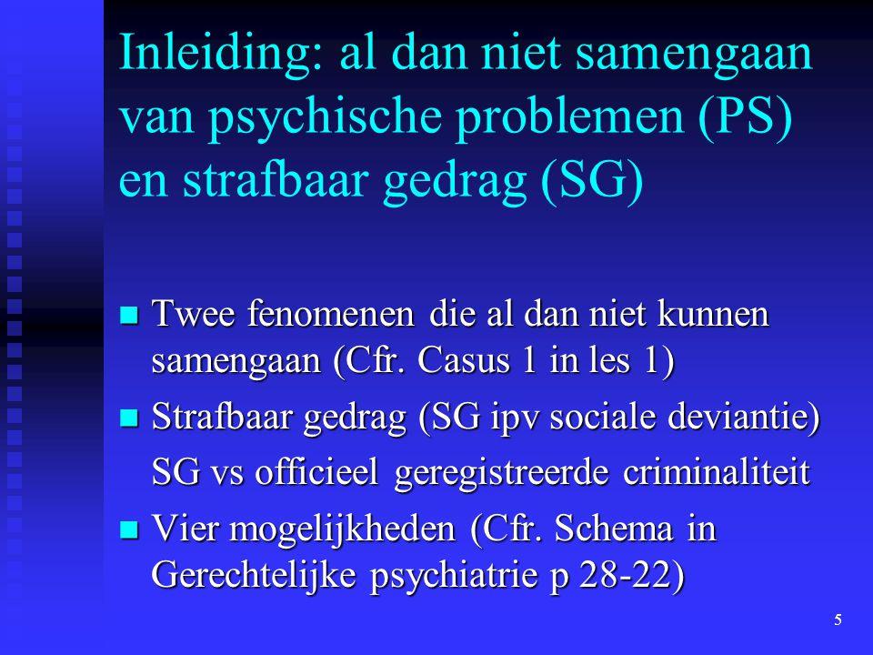 5 Inleiding: al dan niet samengaan van psychische problemen (PS) en strafbaar gedrag (SG) Twee fenomenen die al dan niet kunnen samengaan (Cfr. Casus