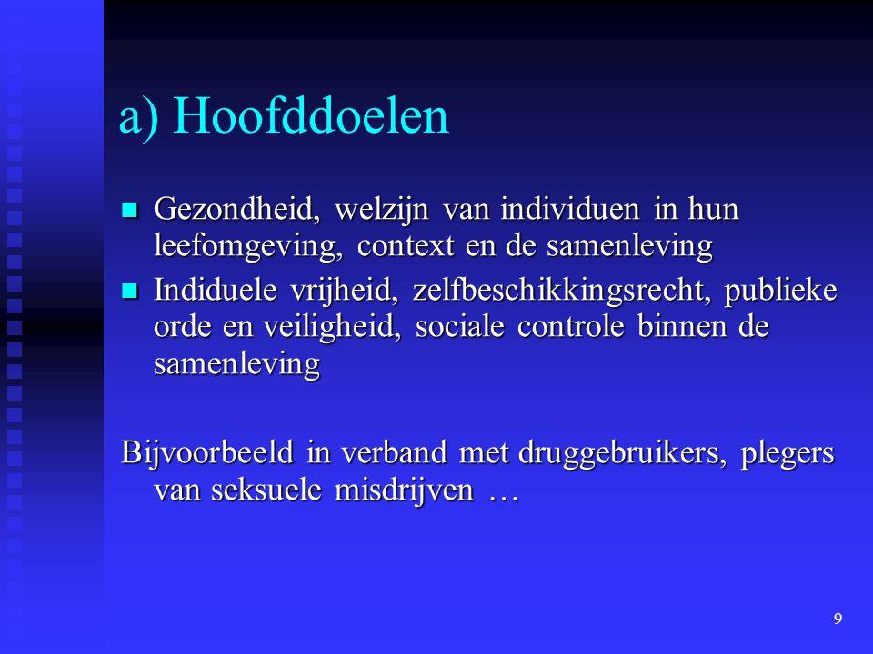 9 a) Hoofddoelen Gezondheid, welzijn van individuen in hun leefomgeving, context en de samenleving Gezondheid, welzijn van individuen in hun leefomgev