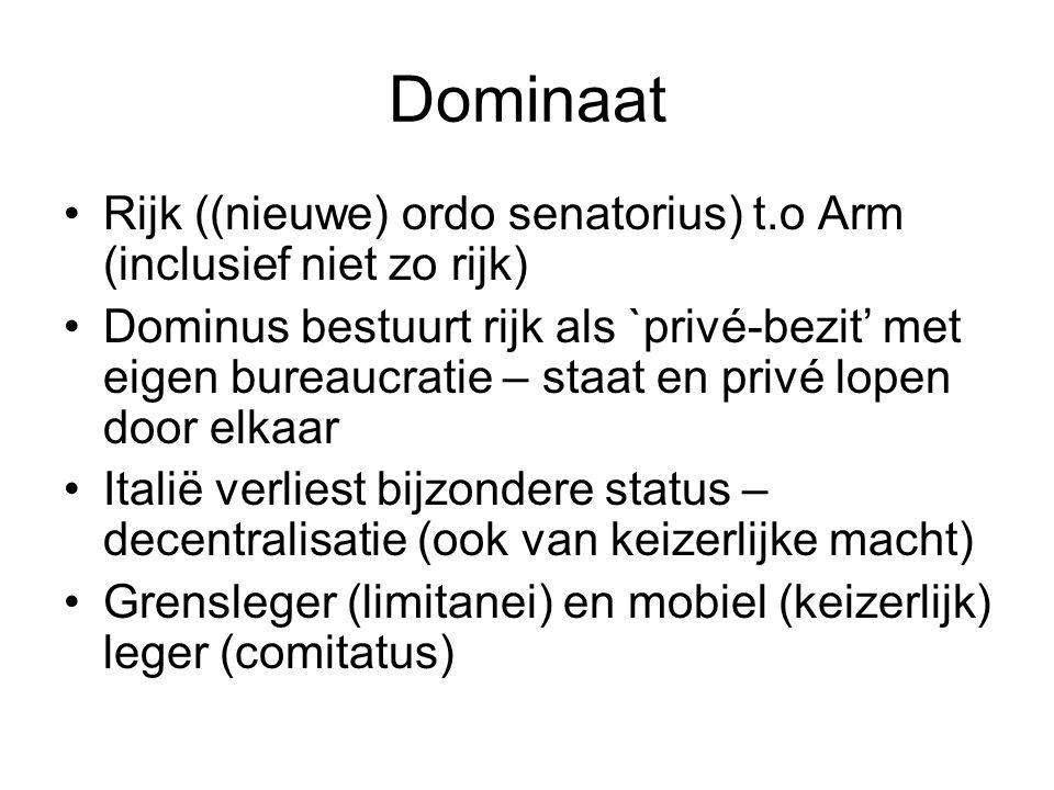 Dominaat Rijk ((nieuwe) ordo senatorius) t.o Arm (inclusief niet zo rijk) Dominus bestuurt rijk als `privé-bezit' met eigen bureaucratie – staat en pr