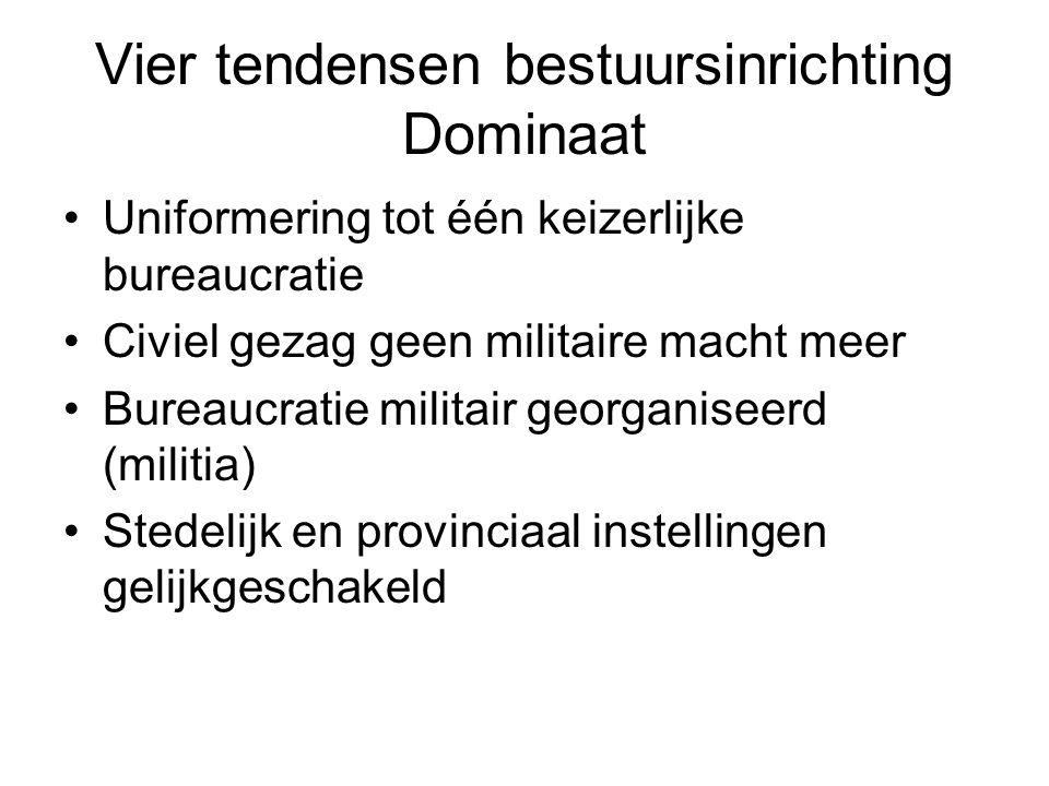 Vier tendensen bestuursinrichting Dominaat Uniformering tot één keizerlijke bureaucratie Civiel gezag geen militaire macht meer Bureaucratie militair