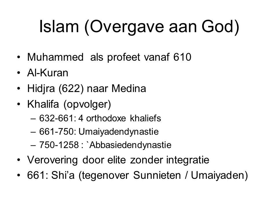 Islam (Overgave aan God) Muhammed als profeet vanaf 610 Al-Kuran Hidjra (622) naar Medina Khalifa (opvolger) –632-661: 4 orthodoxe khaliefs –661-750: Umaiyadendynastie –750-1258 : `Abbasiedendynastie Verovering door elite zonder integratie 661: Shi'a (tegenover Sunnieten / Umaiyaden)