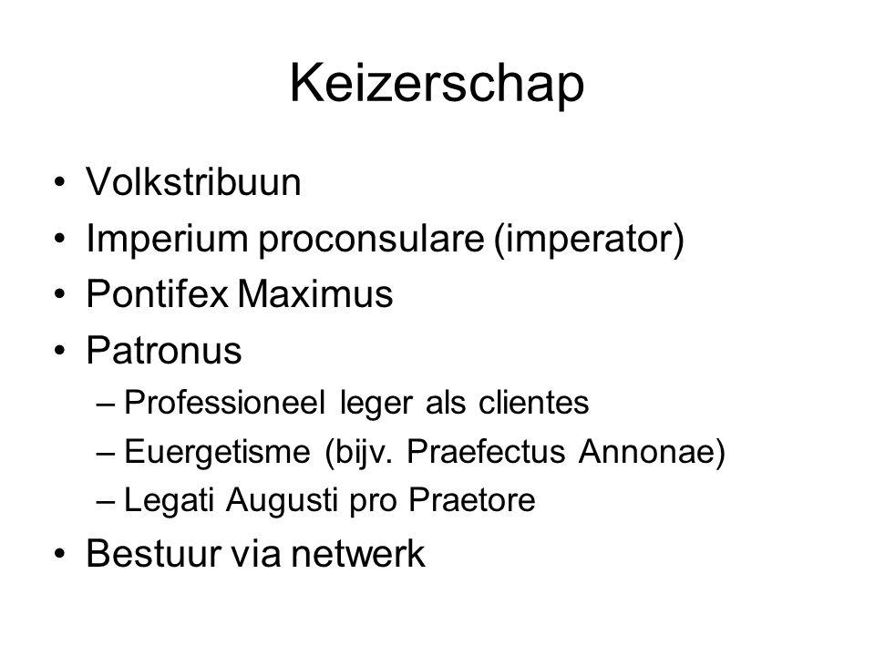 Keizerschap Volkstribuun Imperium proconsulare (imperator) Pontifex Maximus Patronus –Professioneel leger als clientes –Euergetisme (bijv. Praefectus