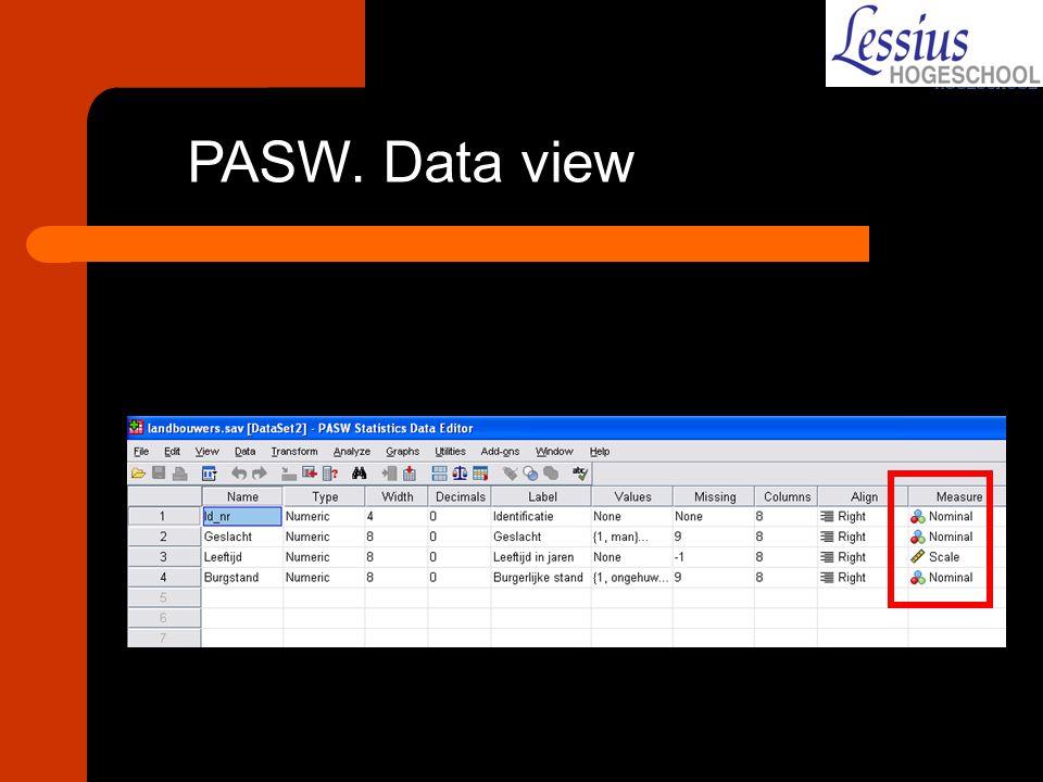PASW. Data view