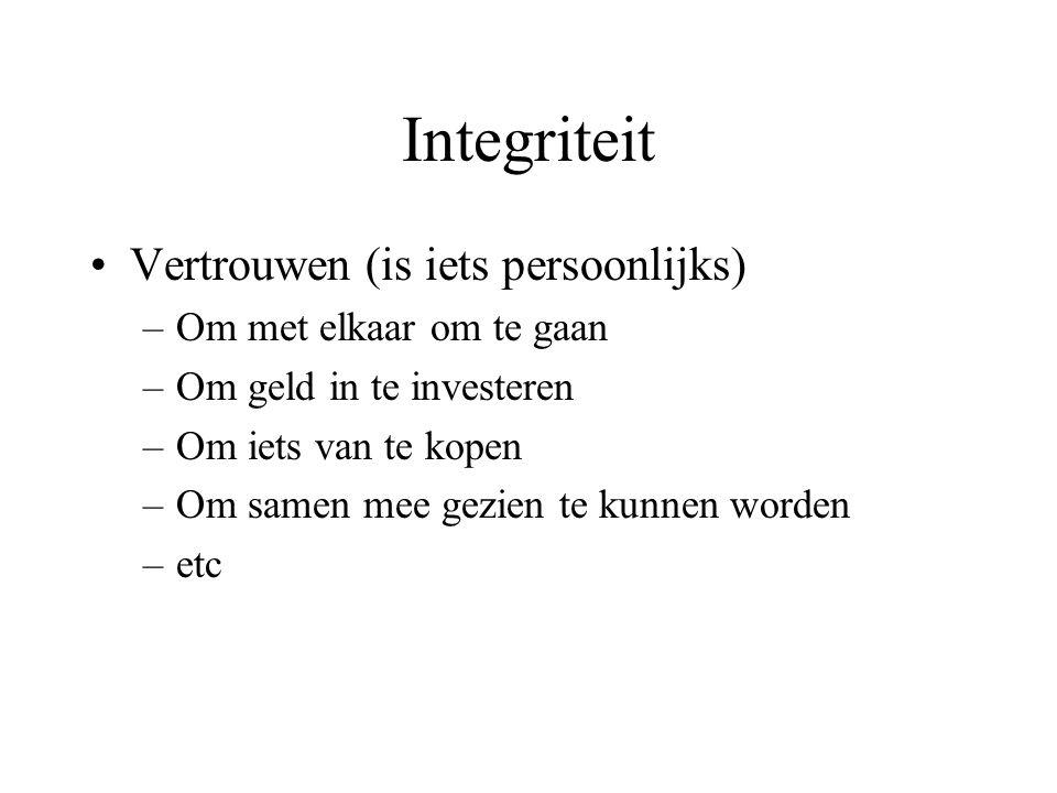 Integriteit Vertrouwen (is iets persoonlijks) –Om met elkaar om te gaan –Om geld in te investeren –Om iets van te kopen –Om samen mee gezien te kunnen worden –etc