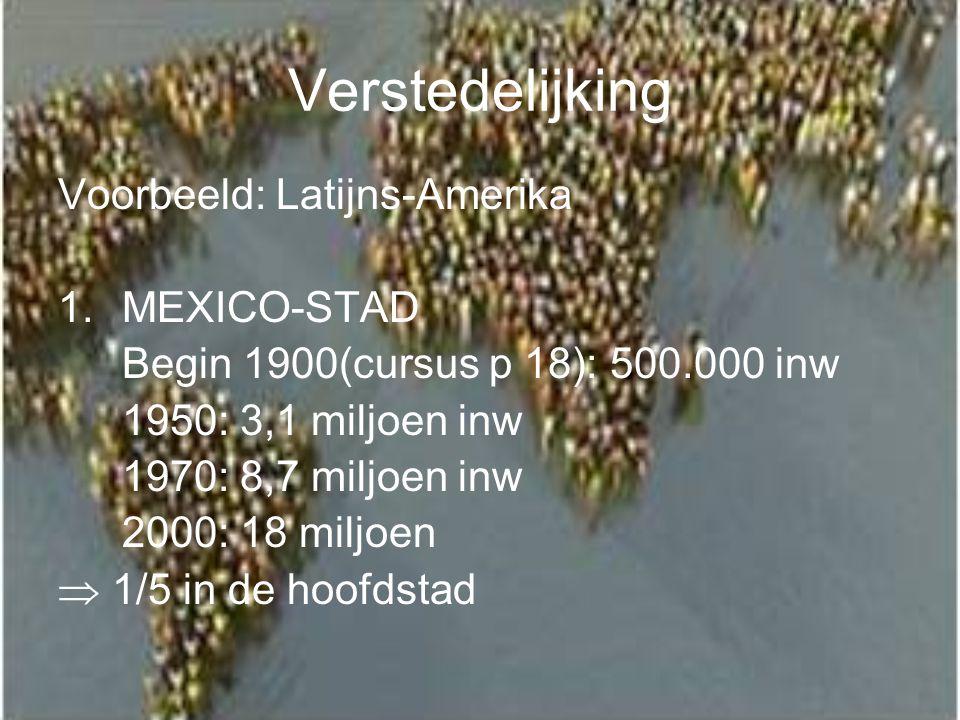 Verstedelijking Voorbeeld: Latijns-Amerika 1.MEXICO-STAD Begin 1900(cursus p 18): 500.000 inw 1950: 3,1 miljoen inw 1970: 8,7 miljoen inw 2000: 18 mil