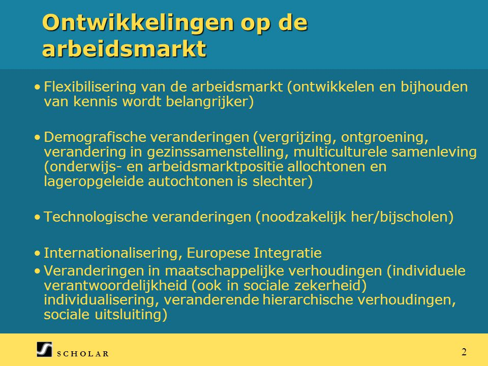 S C H O L A R 2 Ontwikkelingen op de arbeidsmarkt Flexibilisering van de arbeidsmarkt (ontwikkelen en bijhouden van kennis wordt belangrijker) Demografische veranderingen (vergrijzing, ontgroening, verandering in gezinssamenstelling, multiculturele samenleving (onderwijs- en arbeidsmarktpositie allochtonen en lageropgeleide autochtonen is slechter) Technologische veranderingen (noodzakelijk her/bijscholen) Internationalisering, Europese Integratie Veranderingen in maatschappelijke verhoudingen (individuele verantwoordelijkheid (ook in sociale zekerheid) individualisering, veranderende hierarchische verhoudingen, sociale uitsluiting)