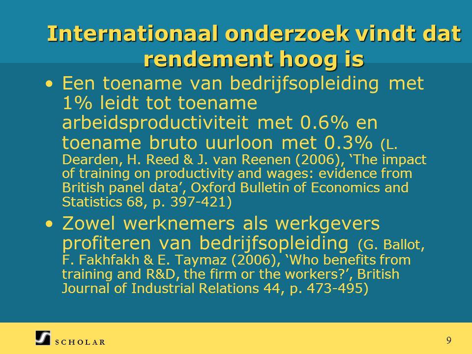 S C H O L A R 9 Internationaal onderzoek vindt dat rendement hoog is Een toename van bedrijfsopleiding met 1% leidt tot toename arbeidsproductiviteit met 0.6% en toename bruto uurloon met 0.3% (L.